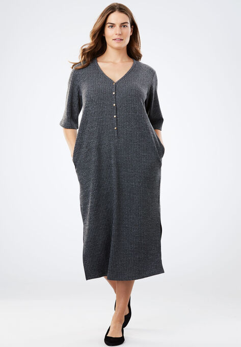 Rib Knit Buttoned T Shirt Dress Plus Size Dresses Woman Within