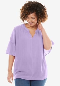 Gauze Bell Sleeve Blouse, BRIGHT LILAC, hi-res