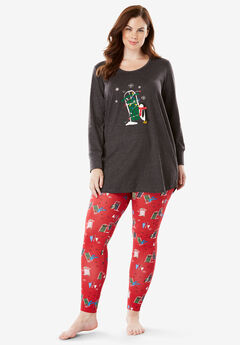 2-Piece PJ Legging Set by Dreams & Co.®, CLASSIC RED PENGUIN