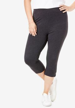 Stretch Cotton Capri Legging, HEATHER CHARCOAL, hi-res