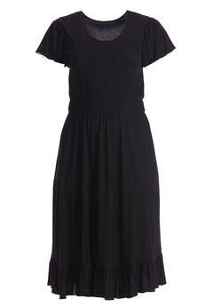 Smocked dress with flounced hem by Chelsea Studio®, CLASSIC BLACK, hi-res