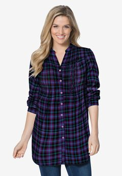Pintucked Flannel Shirt, MIDNIGHT PLUM PLAID