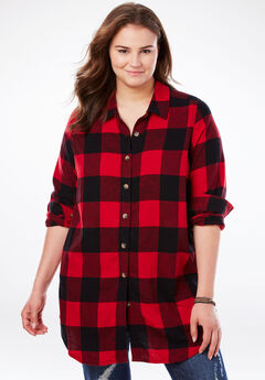 Classic Flannel Shirt, CLASSIC RED BLACK PLAID