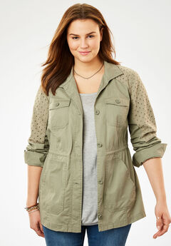 Sport Twill utility jacket, ANTIQUE SAGE EYELET, hi-res