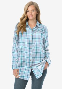 Classic Flannel Shirt, DEEP TEAL PLAID