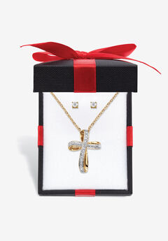 """Yellow Gold-Plated Cross Pendant with Genuine Diamond Accent on 18"""" Chain,"""
