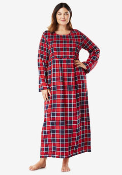 Flare Sleeve Smocked Lounger by Dreams & Co.®, NAVY PLAID