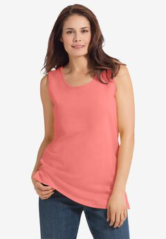 Perfect Scoop-Neck Tank, SWEET CORAL