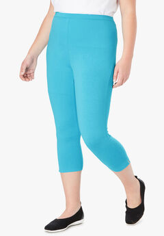 Stretch Cotton Capri Legging, CARIBBEAN BLUE