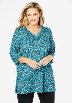 Perfect V-Neck Three-Quarter Sleeve Tunic, BLUE TEAL CHEVRON