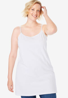 Stretch Cotton Long Camisole, WHITE