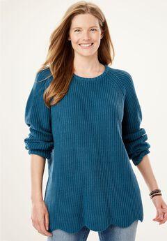 Scalloped Hem Shaker Sweater,