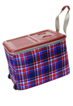 Rolling Ice Cooler, EVENING BLUE PLAID, hi-res
