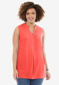 Sleeveless Tab-Front Shirt, CORAL ROSE, hi-res