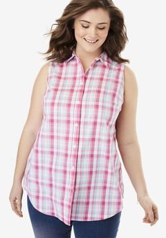 Perfect Sleeveless Button Down Shirt,
