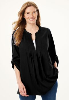 Layered-look box-stitched tunic , BLACK, hi-res