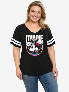 Disney Retro Minnie Mouse Classic Sport V-Neck T-Shirt Black,