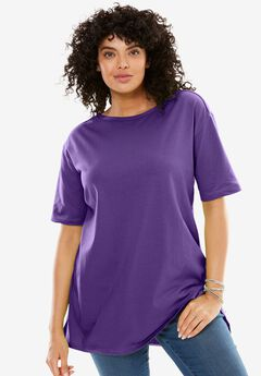 Perfect Boat Neck Tunic with Elbow-Length Sleeves, ROYAL GRAPE, hi-res