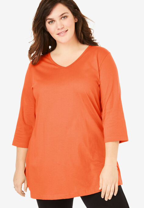 e3ec2dd6a02 Perfect V-Neck Three-Quarter Sleeve Tunic| Plus Size Tunics | Woman ...