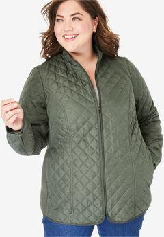 Zip-Front Quilted Jacket,
