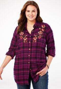 Classic Flannel Shirt, PLUM PURPLE EMBROIDERED PLAID