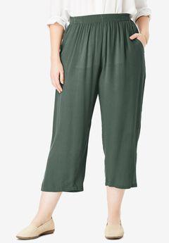 Crinkle capri pants,