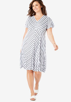 Cinched V-Neck Tee Dress,