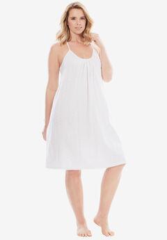 Breezy Eyelet Knit Short Nightgown, WHITE, hi-res