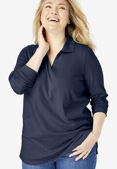 Perfect Open Collar Polo Long Sleeve Tee, NAVY