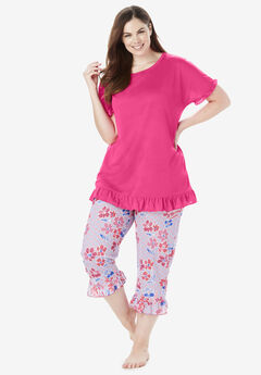 Cool Dreams Ruffled Capri Pajama Set, RASPBERRY SORBET FLORAL
