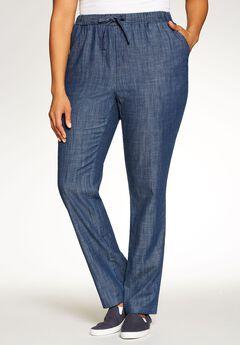 Drawstring Chambray Straight Leg Pant,