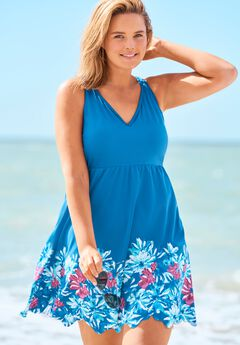Floral Border Swim Dress,