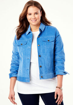 Cropped Corded Jacket, DUSTY INDIGO, hi-res