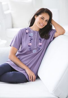 Embroidered Pointelle Tunic,