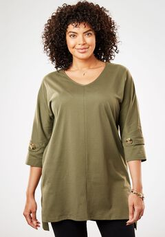Button-Tab Accent Tunic,