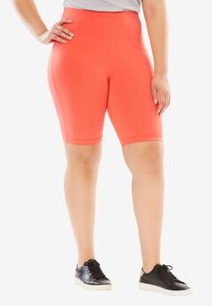 Stretch Cotton Bike Short, CORAL RED, hi-res