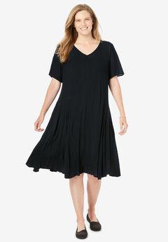Short Crinkle Dress, BLACK