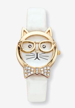 Cat Watch Round Crystal ,