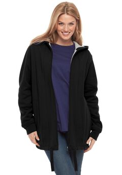 Drawstring-Hem Hooded Fleece Jacket, BLACK, hi-res