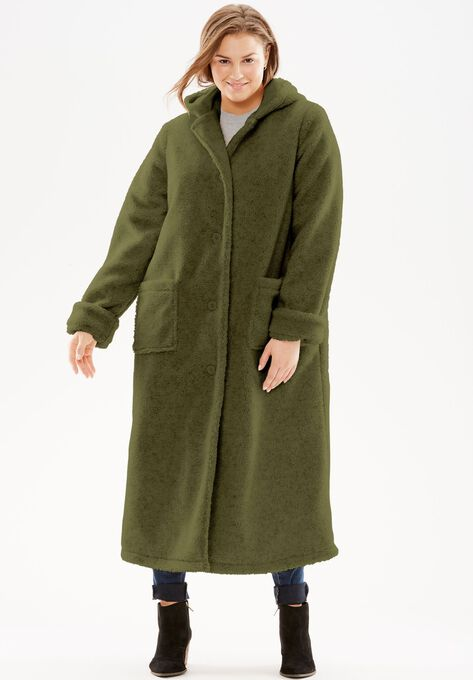 8091b616daa Hooded Berber Fleece Duster Coat