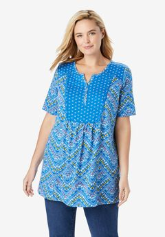 Mixed Print Henley Tunic With Elbow Sleeves,