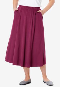 7-Day Knit A-Line Skirt, DEEP CRANBERRY