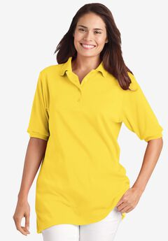 Elbow-Sleeve Tunic Polo Shirt, PRIMROSE YELLOW