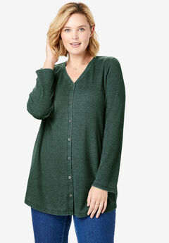 Button Front Washed Thermal, DEEP EMERALD
