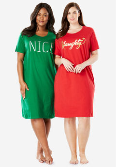 2-Pack Sleepshirt by Dreams & Co.®, NAUGHTY NICE