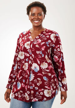 Tab-Front Long Sleeve Shirt, RICH BURGUNDY SOFT FLORAL