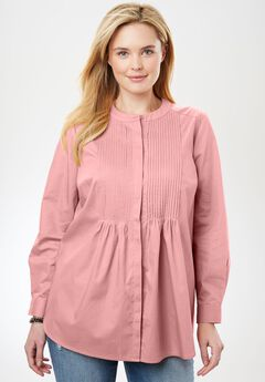 Perfect Pintuck Shirt, PINK SORBET