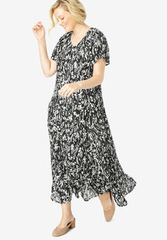 Crinkle Dress, BLACK BRUSHSTROKE LEAF