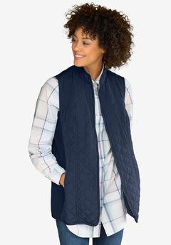 Diamond-Quilted Zip Front Vest, NAVY