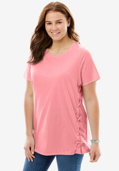Side Lace-Up Tee, FLAMINGO PINK, hi-res